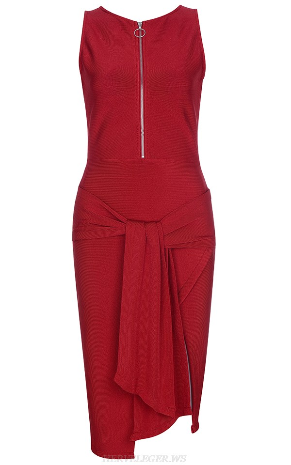 Herve Leger Red Tie Detail Bandage Dress