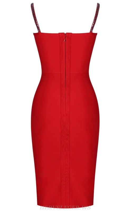 Herve Leger Red Chain Bustier Bandage Dress