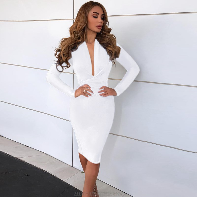 Herve Leger White Long Sleeve Plunge V Neck Bandage Dress