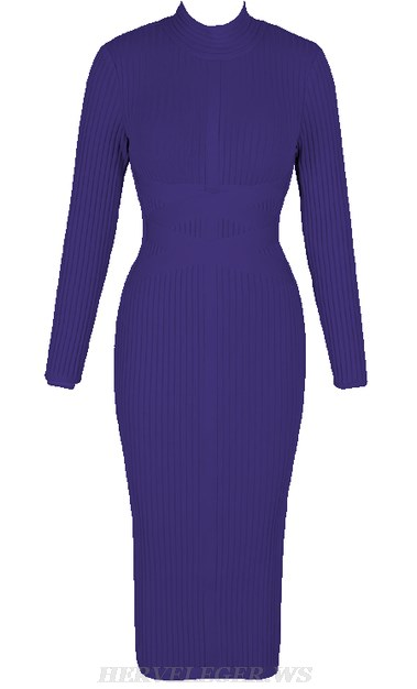Herve Leger Blue Long Sleeve Ribbed Bandage Dress