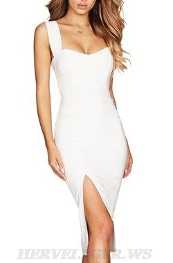 Herve Leger White V Neck Slit Detail Bandage Dress