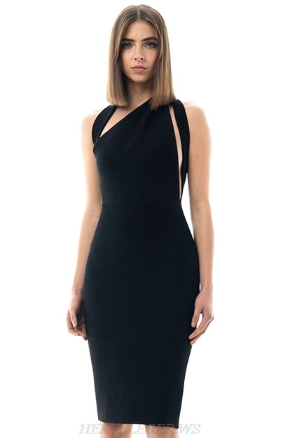 Herve Leger Black Asymmetric Bandage Dress