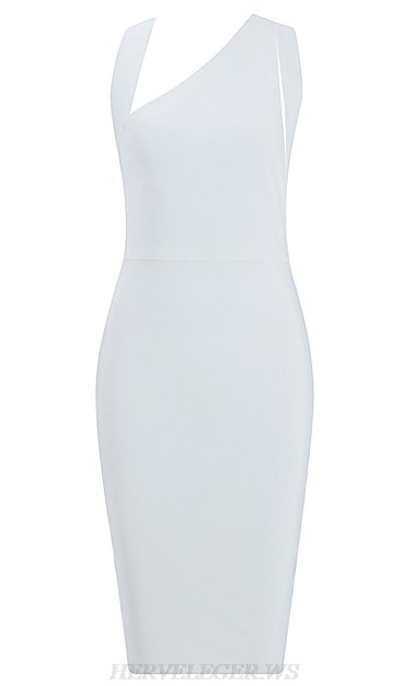 Herve Leger White Asymmetric Bandage Dress