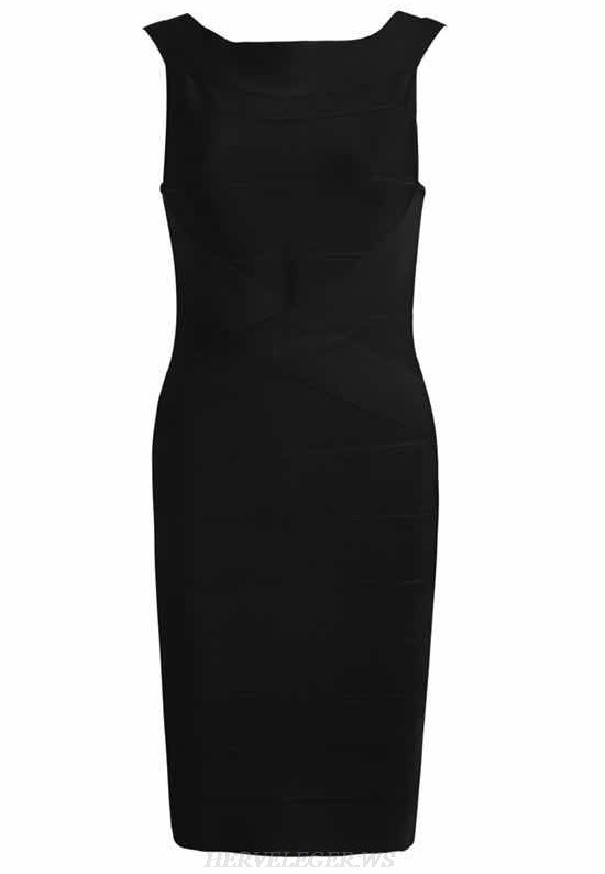 Herve Leger Black Backless Bandage Dress