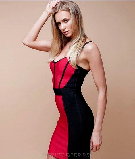 Herve Leger Black Red Bandage Dress