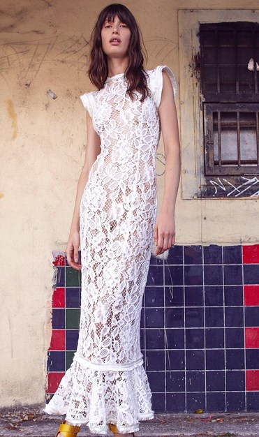 Herve Leger White Crochet Fluted Dress