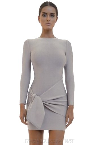 Herve Leger Grey Long Sleeve Bandage Dress