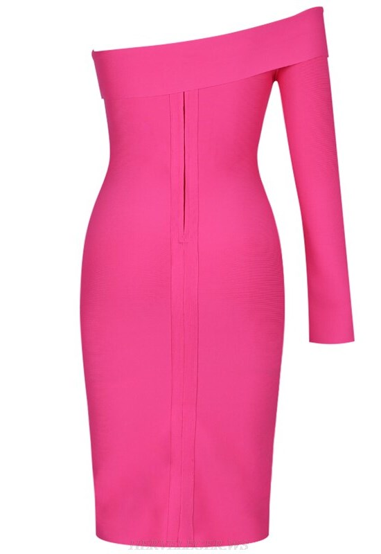 Herve Leger Pink Long Sleeve Bardot Bandage Dress