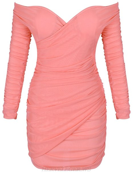 Herve Leger Coral Pink Long Sleeve Bardot Ruched Dress