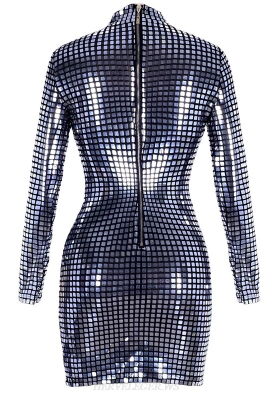 Herve Leger Silver Long Sleeve Mirrored Stars Dress