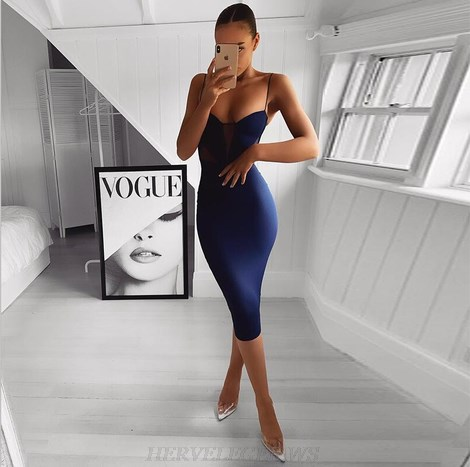 Herve Leger Blue Mesh Bandage Dress