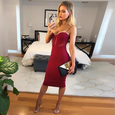 Herve Leger Burgundy Mesh Bandage Dress