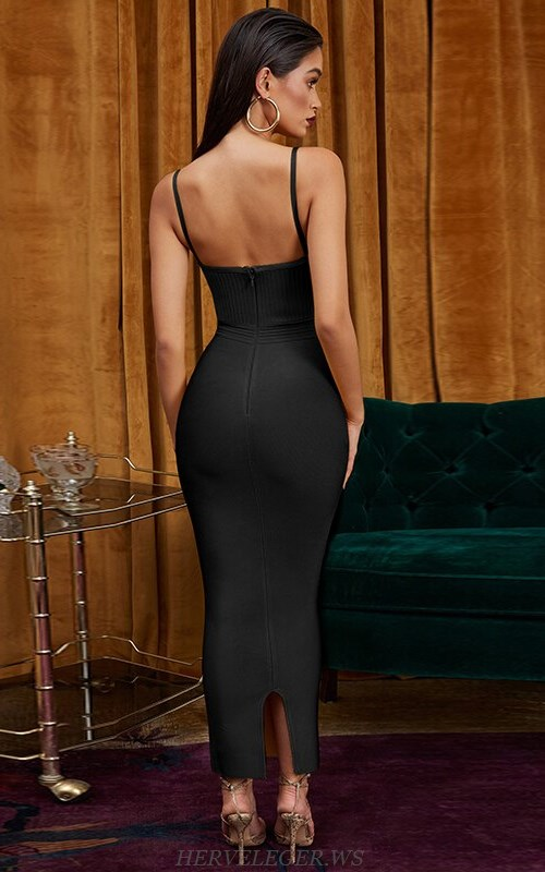 Herve Leger Black Ribbed Detail Gown