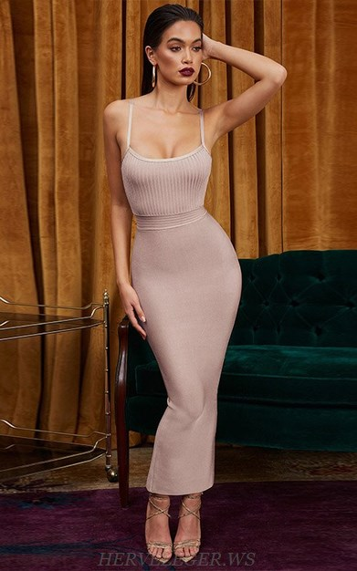 Herve Leger Nude Ribbed Detail Gown