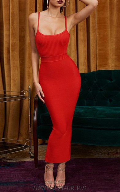 Herve Leger Red Ribbed Detail Gown