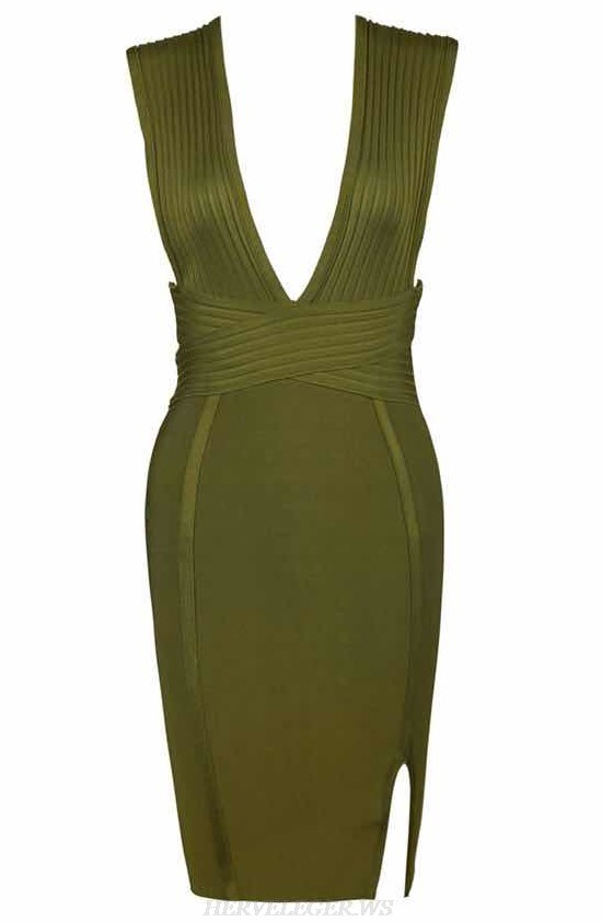 Herve Leger Green Ribbed Plunge V Neck Bandage Dress
