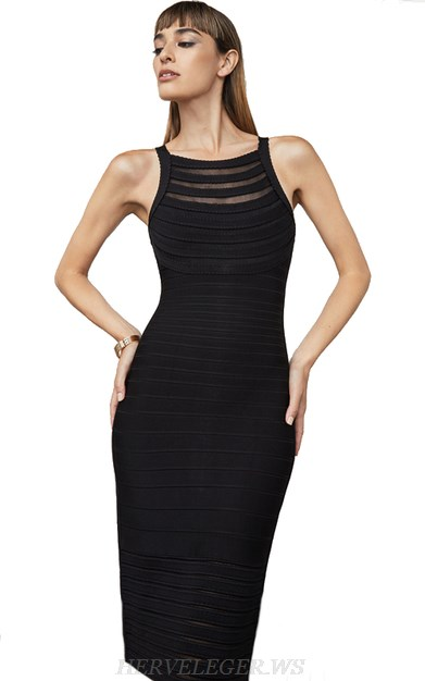 Herve Leger Black Scalloped Mesh Bandage Dress