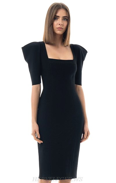 Herve Leger Black Short Sleeve Bandage Dress