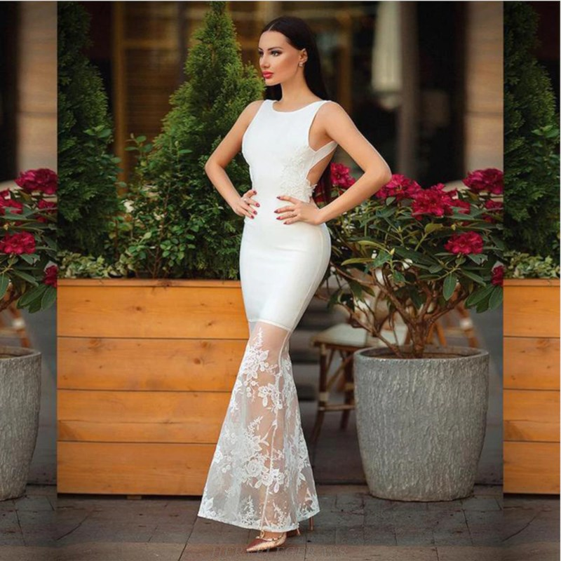 Herve Leger White Backless Lace Gown