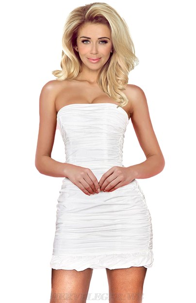 Herve Leger White Bandeau Frill Ruched Dress