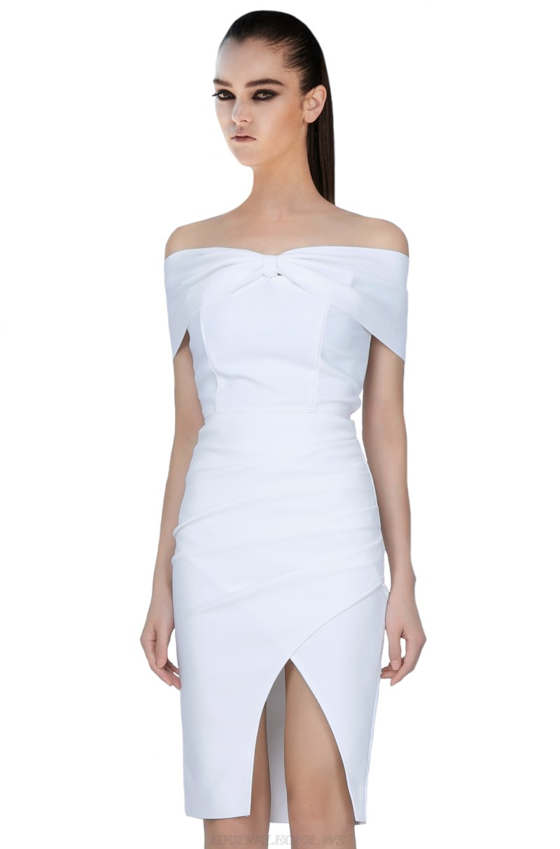 Herve Leger White Bardot Draped Bandage Dress