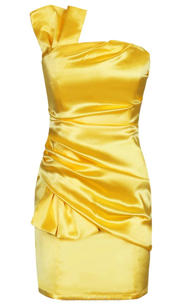 Herve Leger Yellow Draped Bandeau Satin Dress