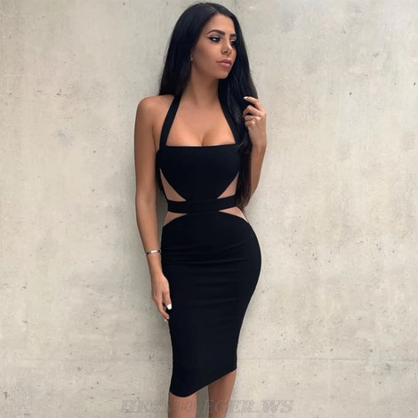Herve Leger Black Nude Halter Bandage Dress