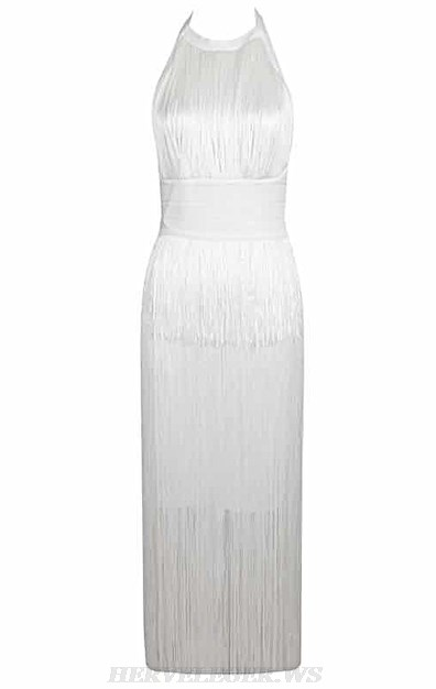 Herve Leger White Halter Tassel Bandage Dress