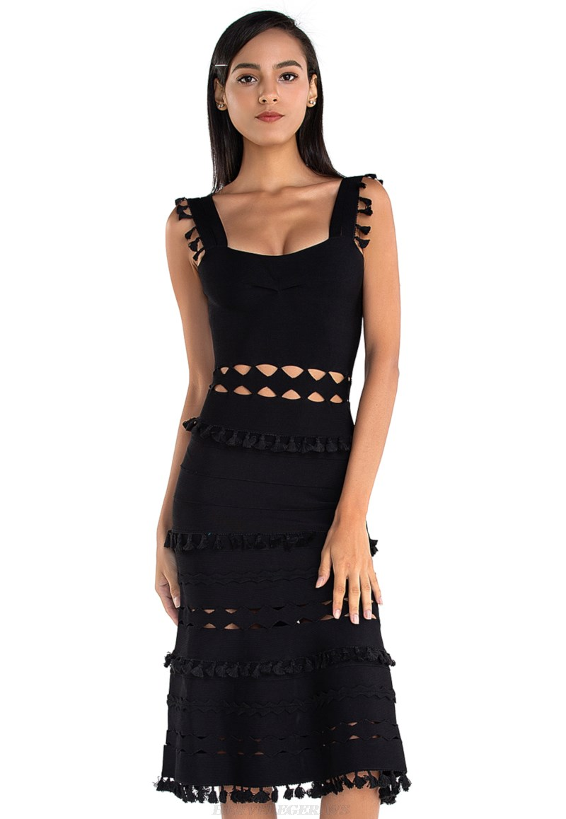 Herve Leger Black Laser Cut A Line Bandage Dress
