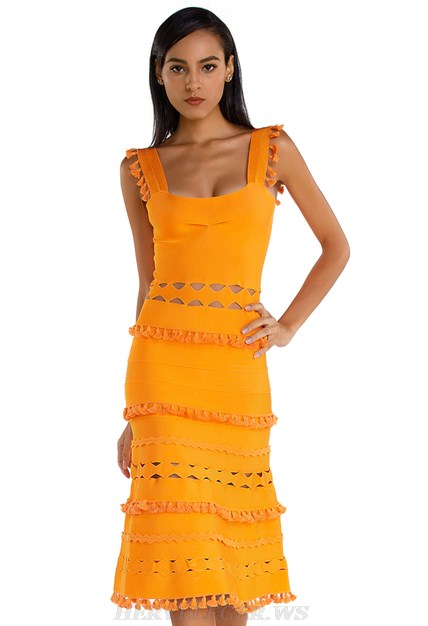 Herve Leger Orange Laser Cut A Line Bandage Dress