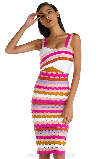 Herve Leger Pink Laser Cut Bandage Dress