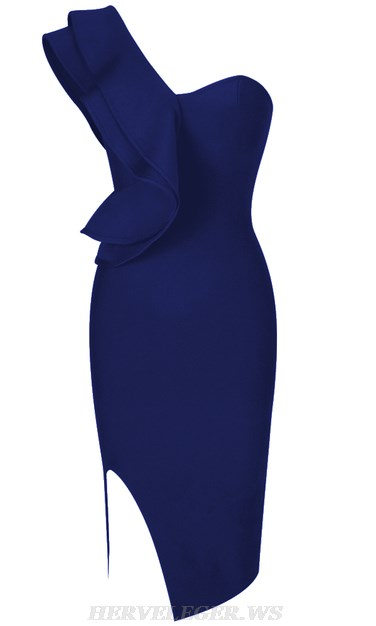 Herve Leger Blue One Sleeve Frill Bandage Dress