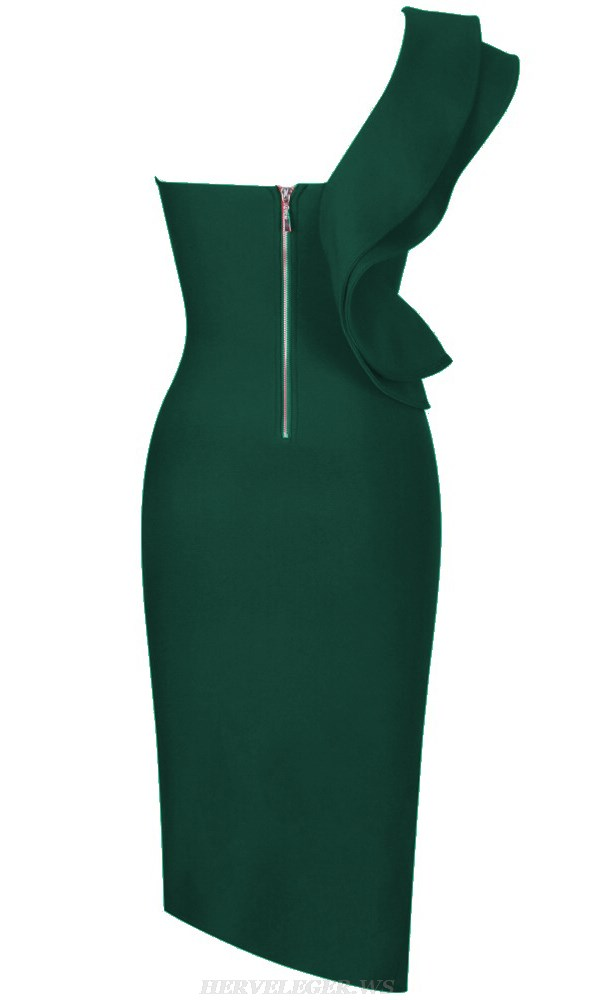 Herve Leger Green One Sleeve Frill Bandage Dress