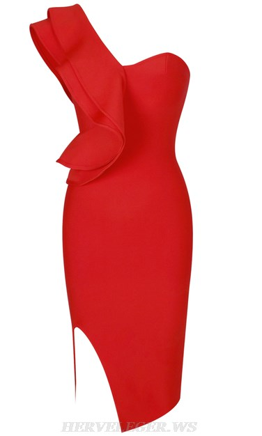 Herve Leger Red One Sleeve Frill Bandage Dress