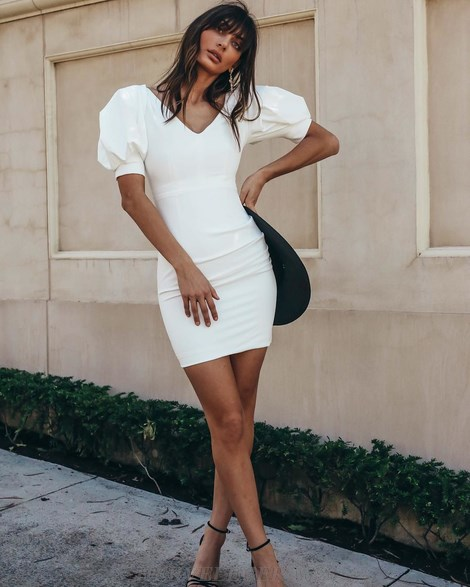 Herve Leger White Puff Sleeve Dress