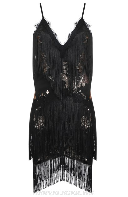 Herve Leger Black Sequin Tassel Dress