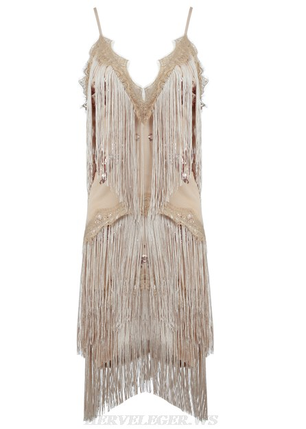 Herve Leger Nude Sequin Tassel Dress