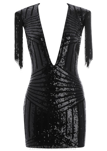 Herve Leger Black Tassel Plunge Sequin Bandage Dress