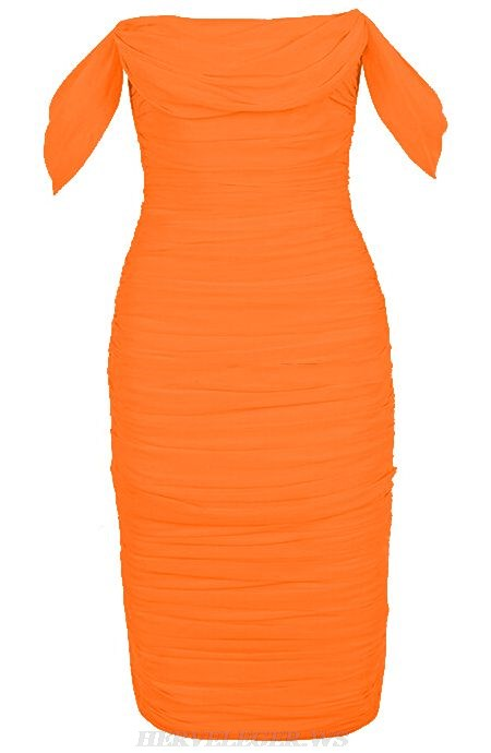 Herve Leger Orange Bardot Ruched Dress