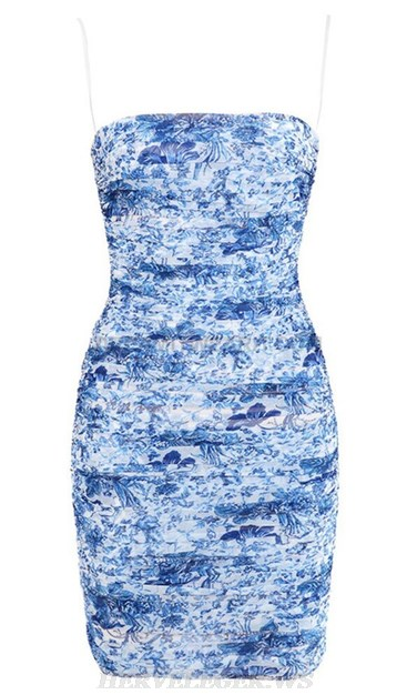 Herve Leger Blue Floral Print Ruched Dress