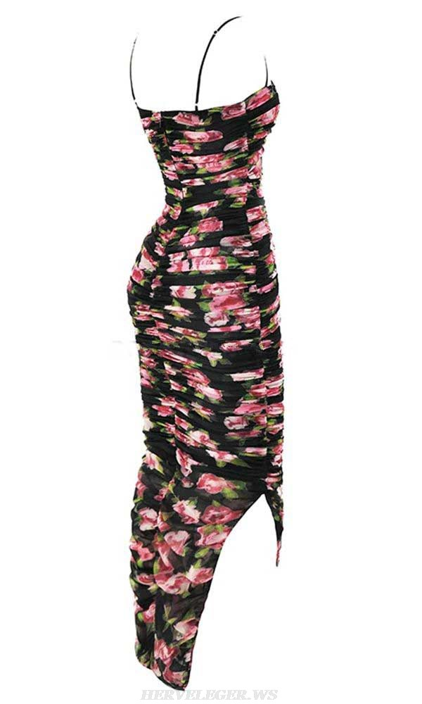 Herve Leger Black Pink Floral Ruched Gown
