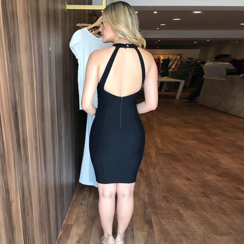 Herve Leger Black Halter Backless Dress