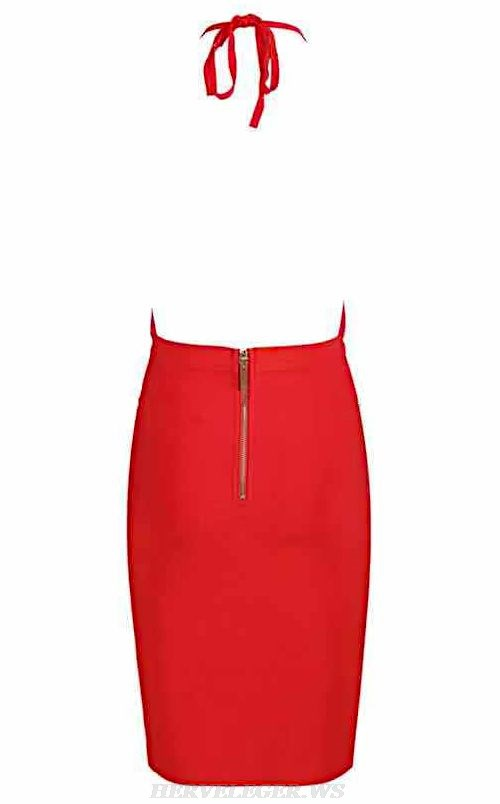Herve Leger Red Halter Plunge V Neck Dress