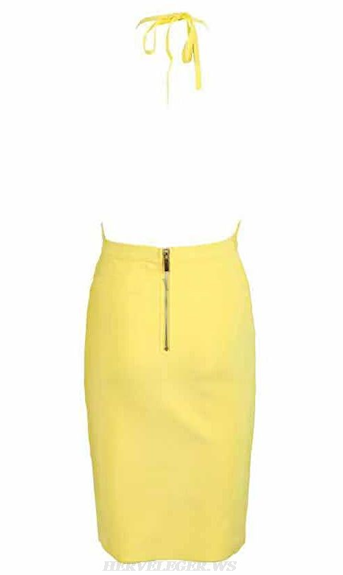 Herve Leger Yellow Halter Plunge V Neck Dress