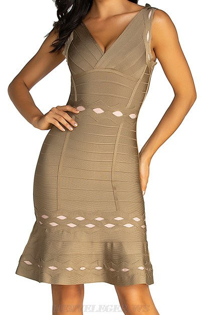Herve Leger Nude Brown Laser Cut A Line Dress
