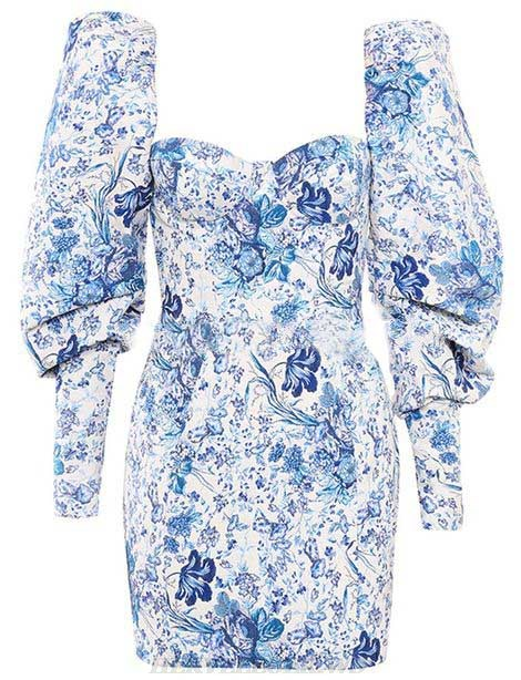 Herve Leger Blue Long Sleeve Floral Dress
