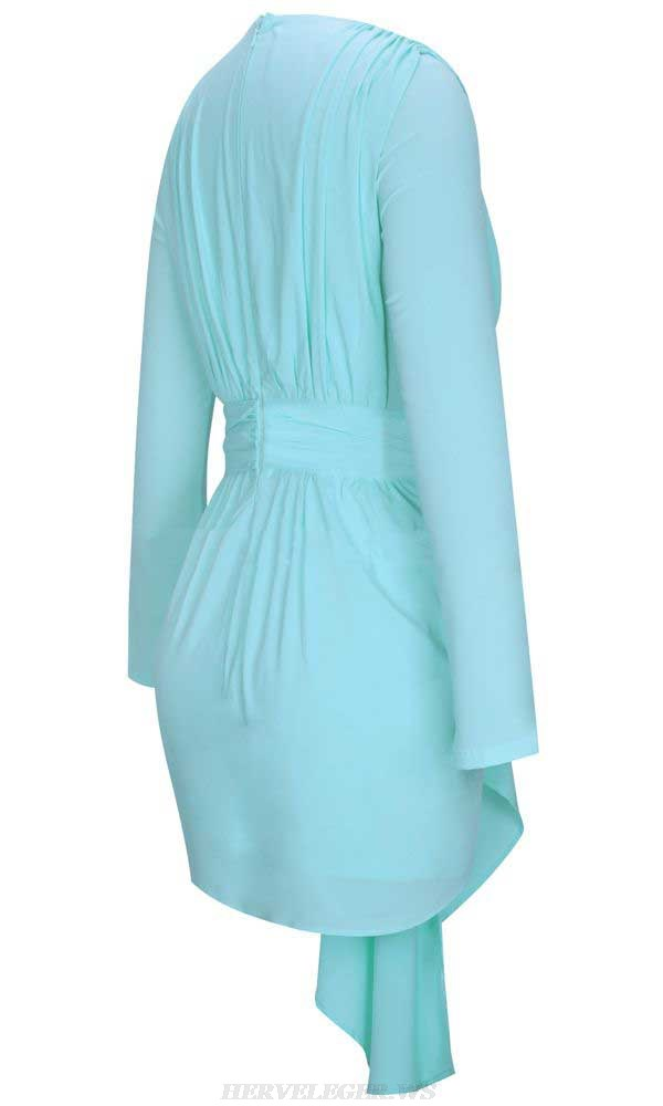 Herve Leger Light Green V Neck Long Sleeve Ruched Stars Dress