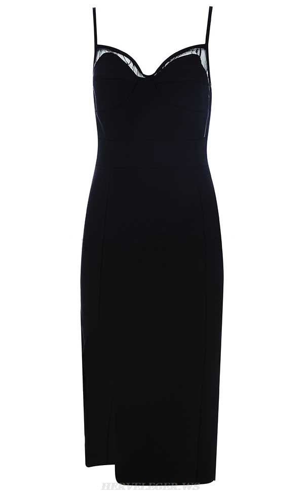 Herve Leger Black V Neck Mesh Slit Dress
