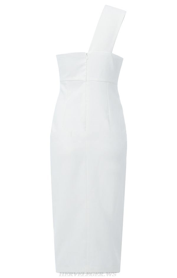Herve Leger White One Shoulder Button Detail Dress
