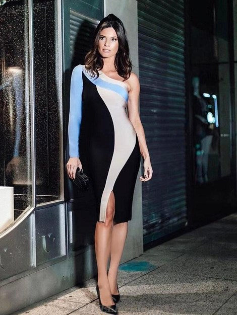 Herve Leger Black Blue Nude One Sleeve Dress